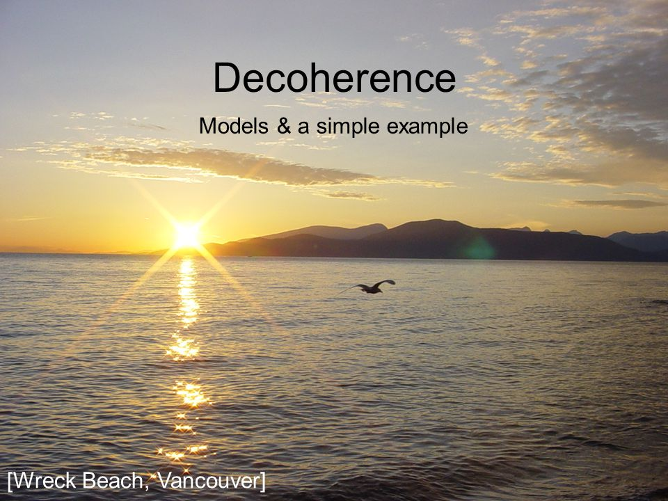 Decoherence Models & a simple example [Wreck Beach, Vancouver]