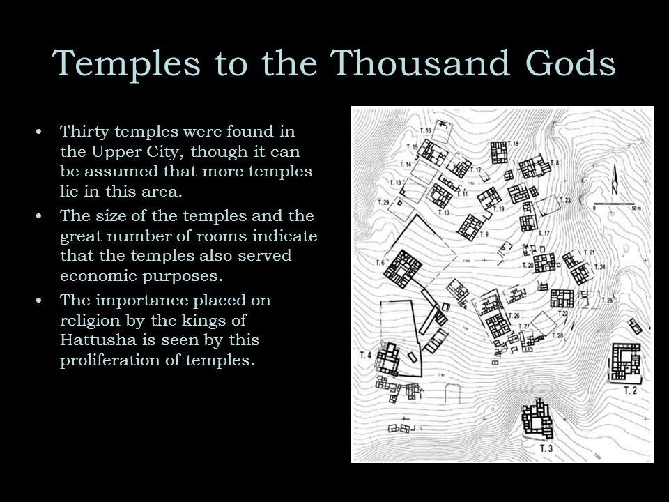 Temples to the Thousand Gods Thirty temples were found in the Upper City, though it can be assumed that more temples lie in this area.