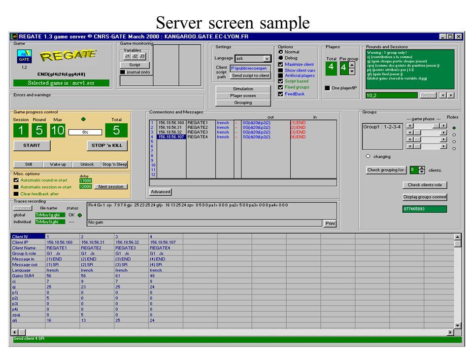 ME2 - CNRS-GATE July 7, 00 Player interface ScriptPlayer screen