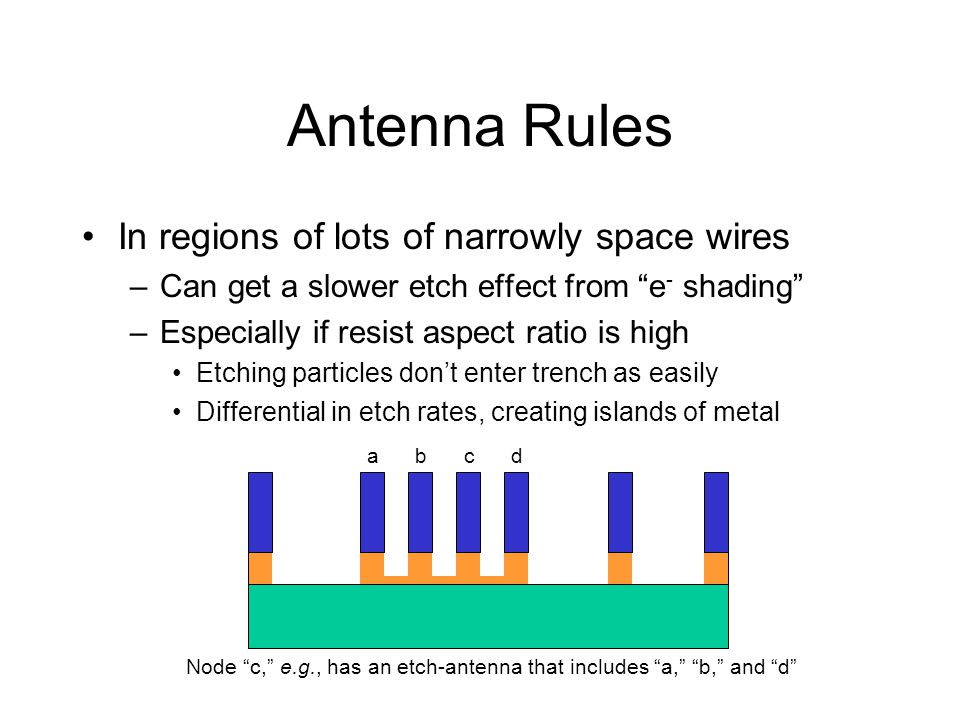 Antenna Rules In regions of lots of narrowly space wires –Can get a slower etch effect from e - shading –Especially if resist aspect ratio is high Etc
