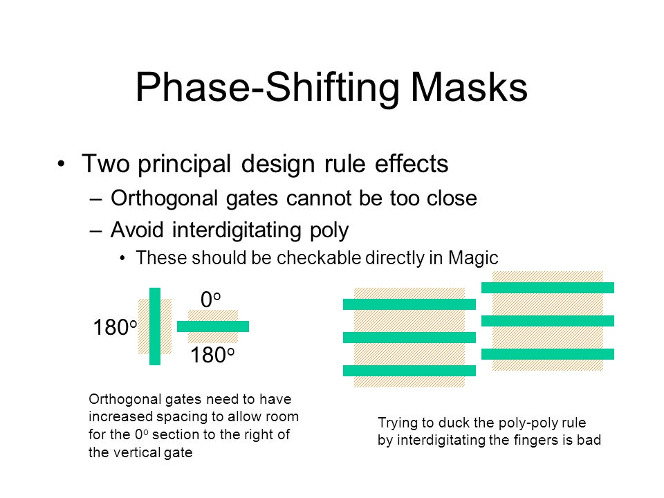 Phase-Shifting Masks Two principal design rule effects –Orthogonal gates cannot be too close –Avoid interdigitating poly These should be checkable dir