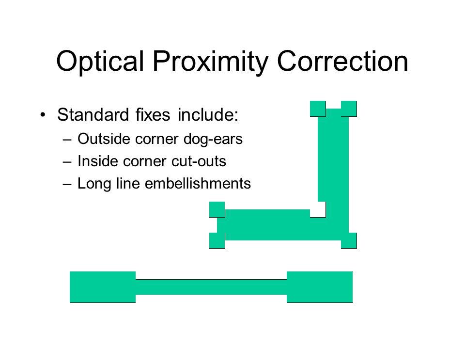 Optical Proximity Correction Standard fixes include: –Outside corner dog-ears –Inside corner cut-outs –Long line embellishments