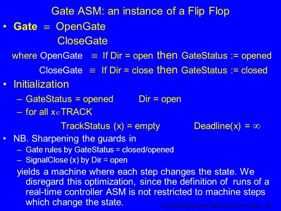 © Egon Börger: Real-Time Controller ASMs 20 Gate ASM: an instance of a Flip Flop Gate OpenGate CloseGate where OpenGate If Dir = open then GateStatus := opened CloseGate If Dir = close then GateStatus := closed Initialization –GateStatus = opened Dir = open –for all x TRACK TrackStatus (x) = empty Deadline(x) = NB.