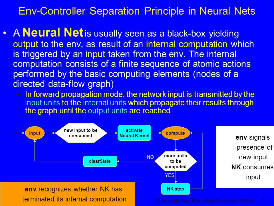 © Egon Börger: Real-Time Controller ASMs 7 Env-Controller Separation Principle in Neural Nets A Neural Net is usually seen as a black-box yielding out