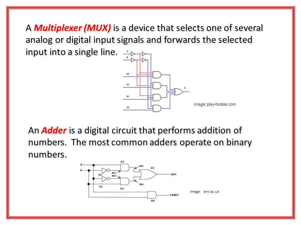 A Multiplexer (MUX) is a device that selects one of several analog or digital input signals and forwards the selected input into a single line.