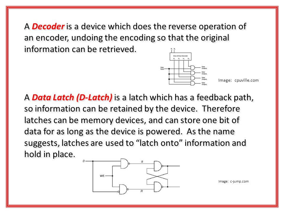 A Decoder is a device which does the reverse operation of an encoder, undoing the encoding so that the original information can be retrieved.