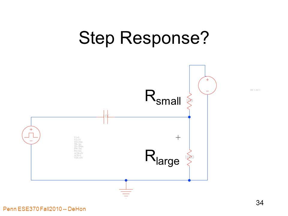 Step Response? Penn ESE370 Fall2010 -- DeHon 34 R small R large