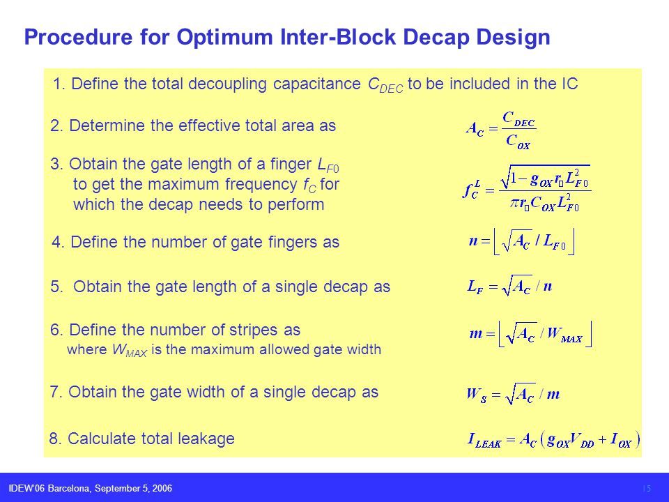 IDEW06 Barcelona, September 5, 2006 15 Procedure for Optimum Inter-Block Decap Design 1.