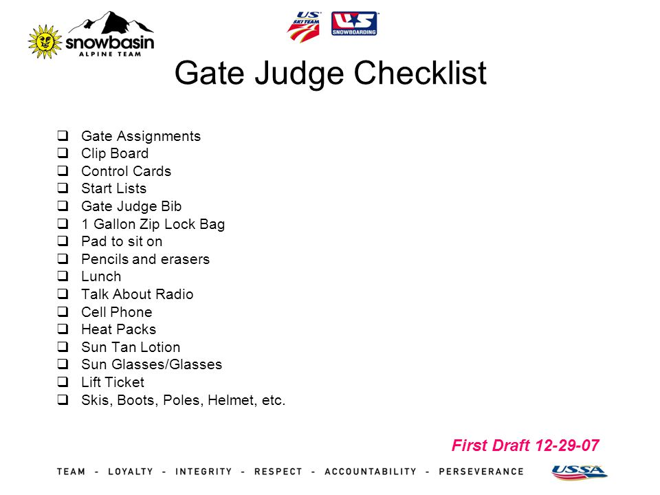 First Draft 12-29-07 Gate Judge Checklist Gate Assignments Clip Board Control Cards Start Lists Gate Judge Bib 1 Gallon Zip Lock Bag Pad to sit on Pen