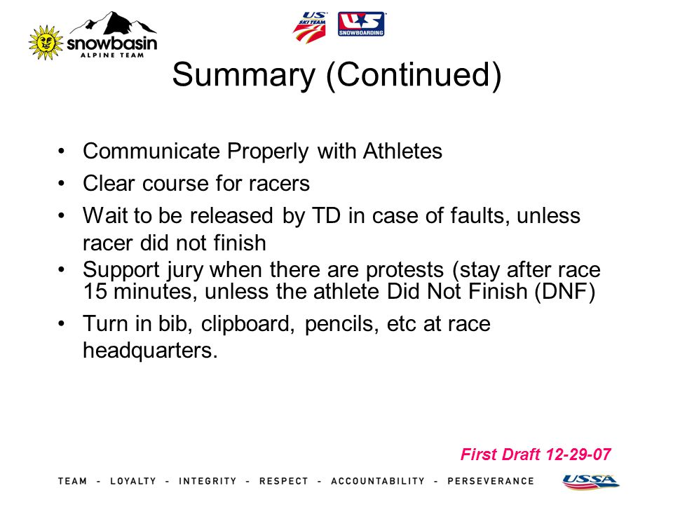 First Draft 12-29-07 Summary (Continued) Communicate Properly with Athletes Clear course for racers Wait to be released by TD in case of faults, unles