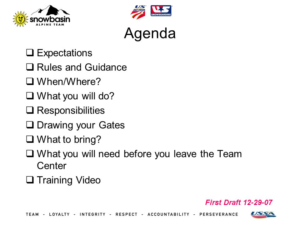 First Draft 12-29-07 Agenda Expectations Rules and Guidance When/Where.