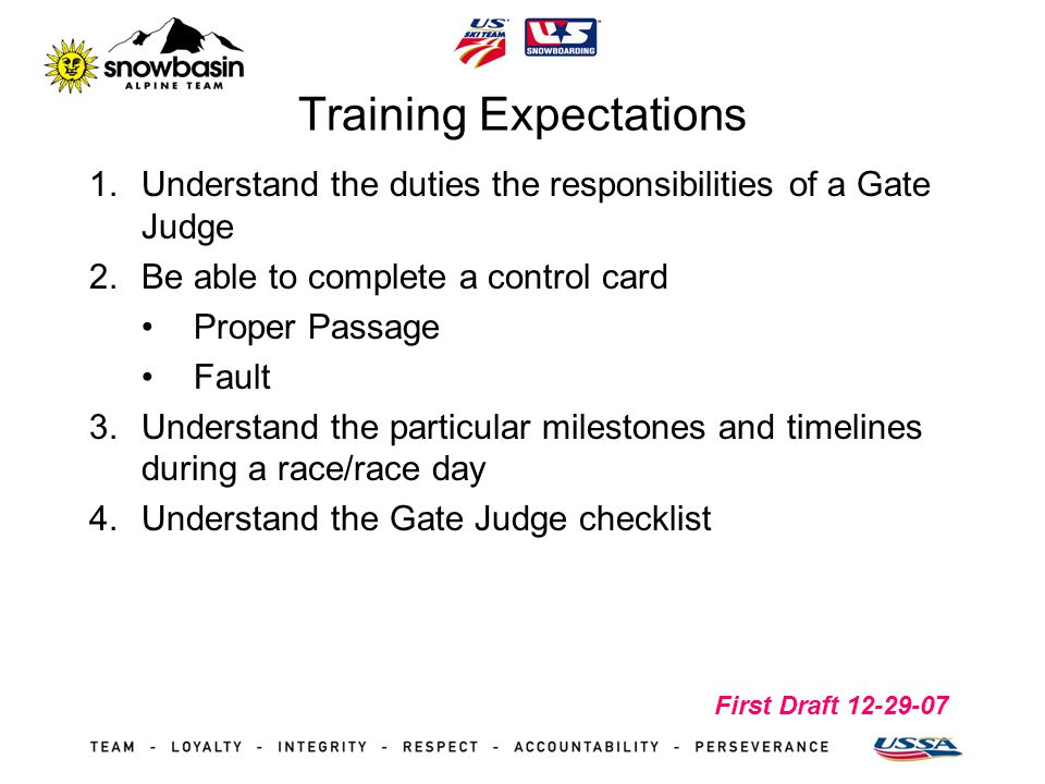 First Draft 12-29-07 Training Expectations 1.Understand the duties the responsibilities of a Gate Judge 2.Be able to complete a control card Proper Pa