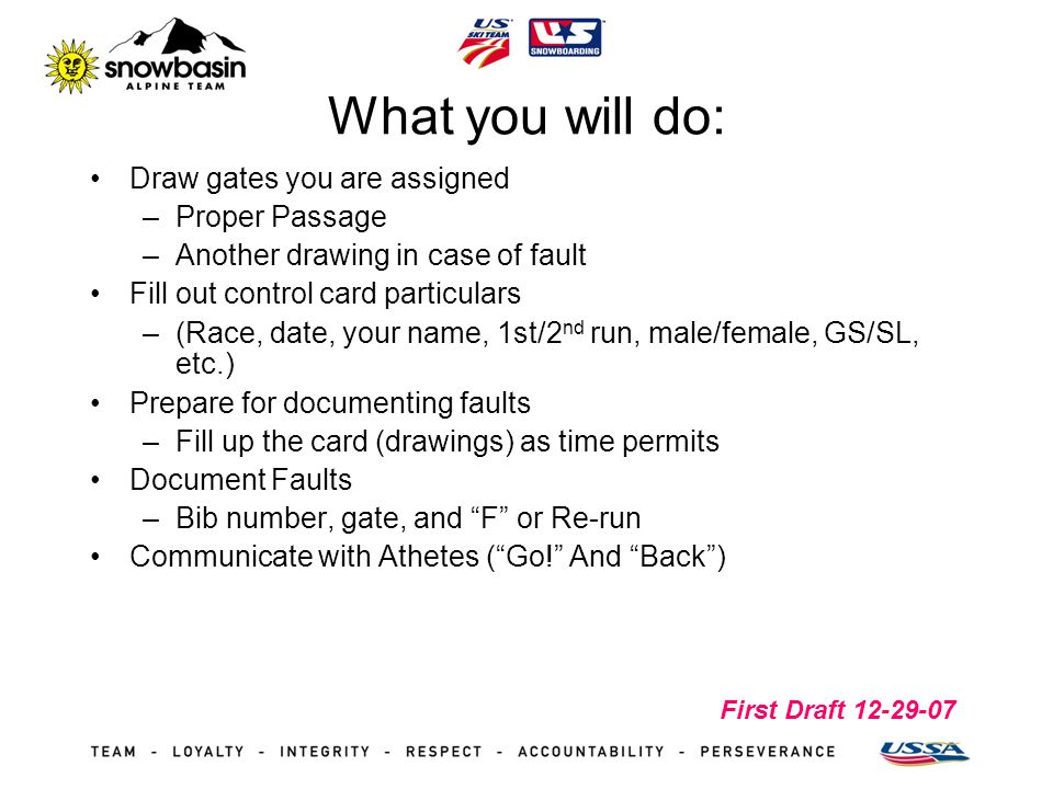 First Draft 12-29-07 What you will do: Draw gates you are assigned –Proper Passage –Another drawing in case of fault Fill out control card particulars –(Race, date, your name, 1st/2 nd run, male/female, GS/SL, etc.) Prepare for documenting faults –Fill up the card (drawings) as time permits Document Faults –Bib number, gate, and F or Re-run Communicate with Athetes (Go.