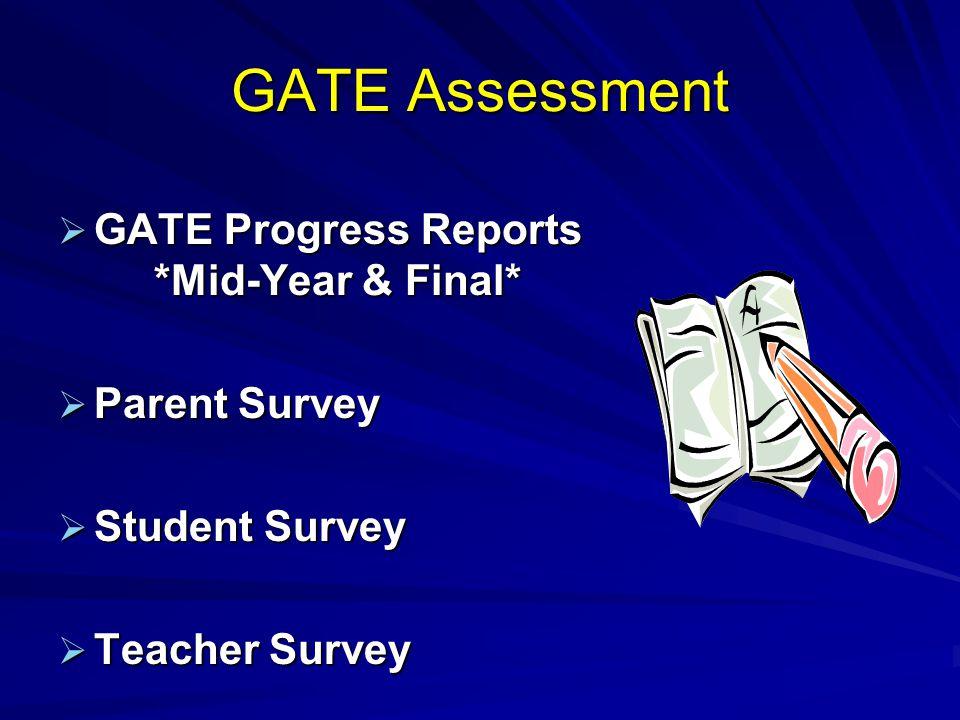 GATE Assessment GATE Progress Reports *Mid-Year & Final* GATE Progress Reports *Mid-Year & Final* Parent Survey Parent Survey Student Survey Student S