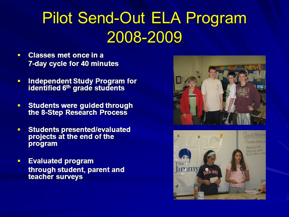 Pilot Send-Out ELA Program 2008-2009 Classes met once in a Classes met once in a 7-day cycle for 40 minutes Independent Study Program for identified 6