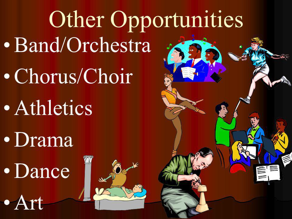 Other Opportunities Band/Orchestra Chorus/Choir Athletics Drama Dance Art