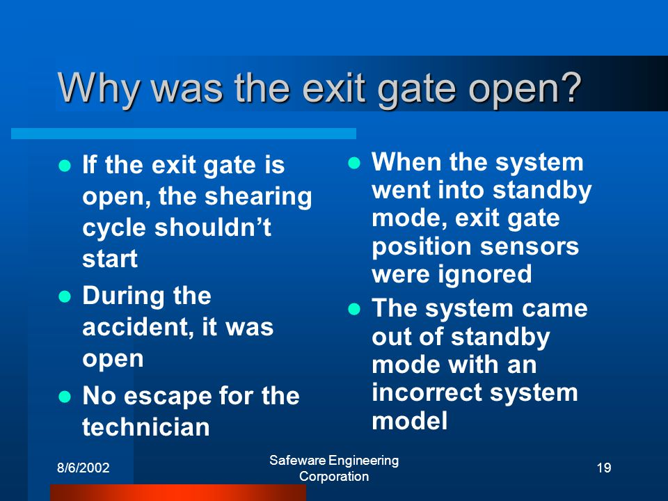 8/6/2002 Safeware Engineering Corporation 19 Why was the exit gate open.