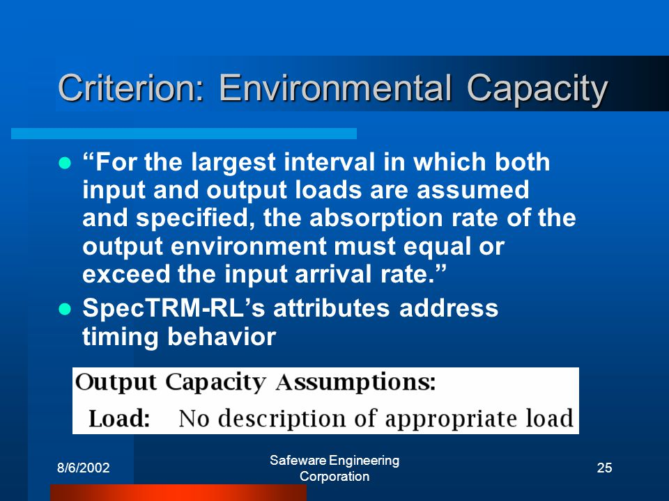 8/6/2002 Safeware Engineering Corporation 25 Criterion: Environmental Capacity For the largest interval in which both input and output loads are assumed and specified, the absorption rate of the output environment must equal or exceed the input arrival rate.
