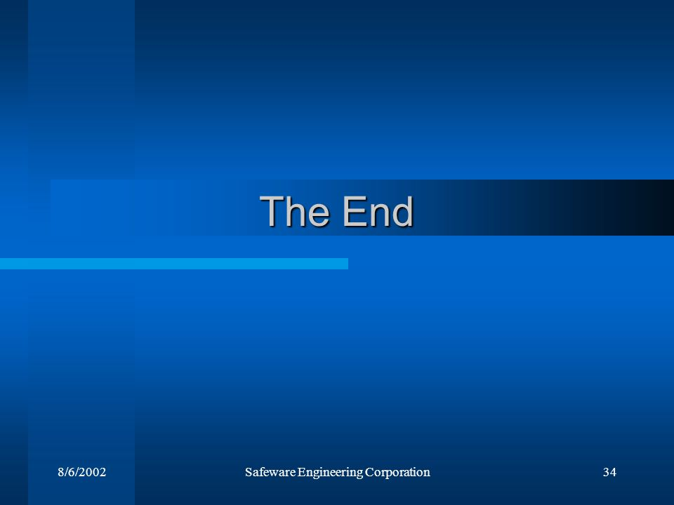 8/6/2002Safeware Engineering Corporation34 The End