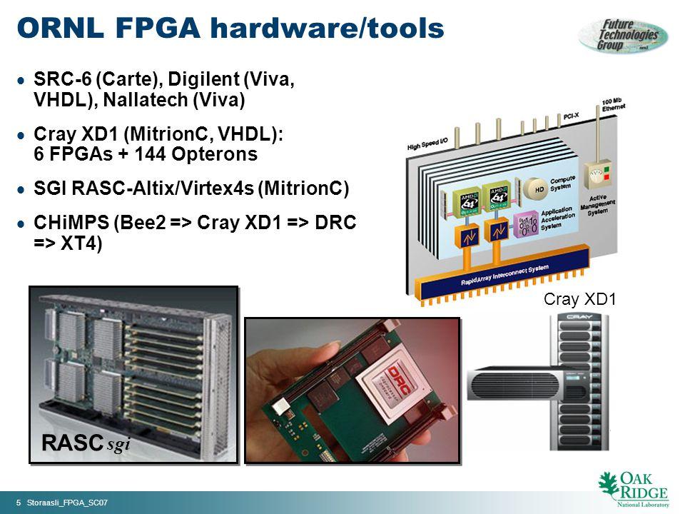 5 Storaasli_FPGA_SC07 Cray XD1 ORNL FPGA hardware/tools SRC-6 (Carte), Digilent (Viva, VHDL), Nallatech (Viva) Cray XD1 (MitrionC, VHDL): 6 FPGAs + 144 Opterons SGI RASC-Altix/Virtex4s (MitrionC) CHiMPS (Bee2 => Cray XD1 => DRC => XT4) RASC sgi
