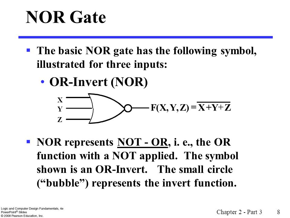Chapter 2 - Part 3 29 More Complex Gates (continued) Example: AOI - AND-OR-Invert consists of a single gate with AND functions driving an OR function which is inverted.