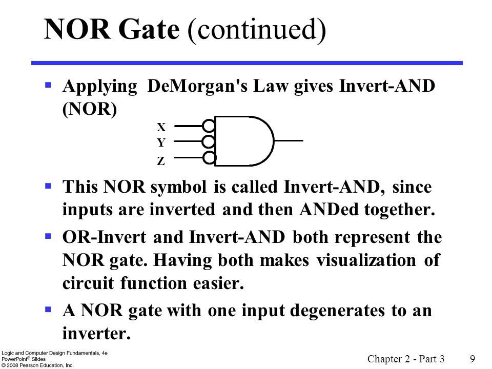 Chapter 2 - Part 3 20 Example: Even Function Implementation Design a 4-input odd function F = W X Y Z with 2-input XOR and XNOR gates Factoring, F = (W X) (Y Z) The circuit: + ++ + ++ W X Y F Z