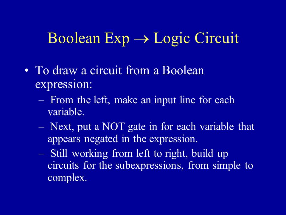 Boolean Exp Logic Circuit To draw a circuit from a Boolean expression: – From the left, make an input line for each variable.