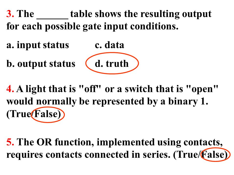 3. The ______ table shows the resulting output for each possible gate input conditions. a. input status c. data b. output status d. truth 4. A light t
