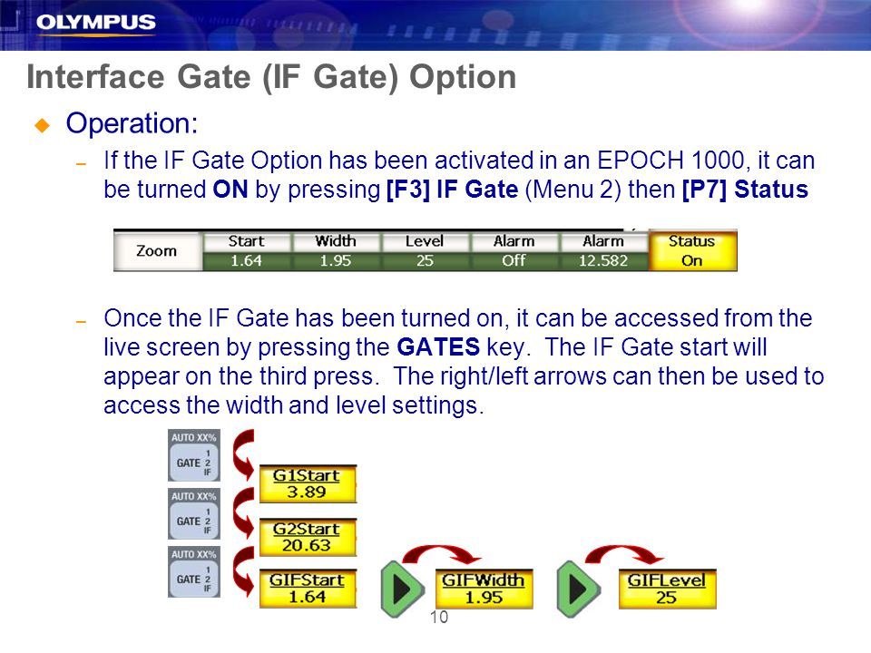 10 Interface Gate (IF Gate) Option u Operation: – If the IF Gate Option has been activated in an EPOCH 1000, it can be turned ON by pressing [F3] IF G