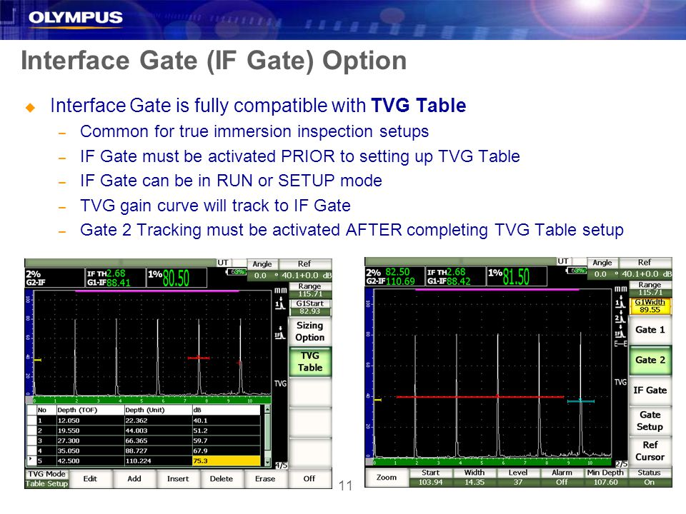 11 Interface Gate (IF Gate) Option u Interface Gate is fully compatible with TVG Table – Common for true immersion inspection setups – IF Gate must be activated PRIOR to setting up TVG Table – IF Gate can be in RUN or SETUP mode – TVG gain curve will track to IF Gate – Gate 2 Tracking must be activated AFTER completing TVG Table setup
