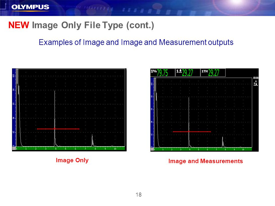18 NEW Image Only File Type (cont.) Examples of Image and Image and Measurement outputs Image Only Image and Measurements