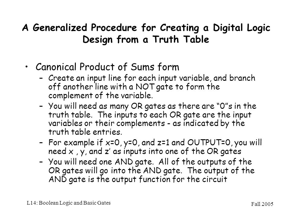 Fall 2005 L14: Boolean Logic and Basic Gates A Generalized Procedure for Creating a Digital Logic Design from a Truth Table Canonical Product of Sums