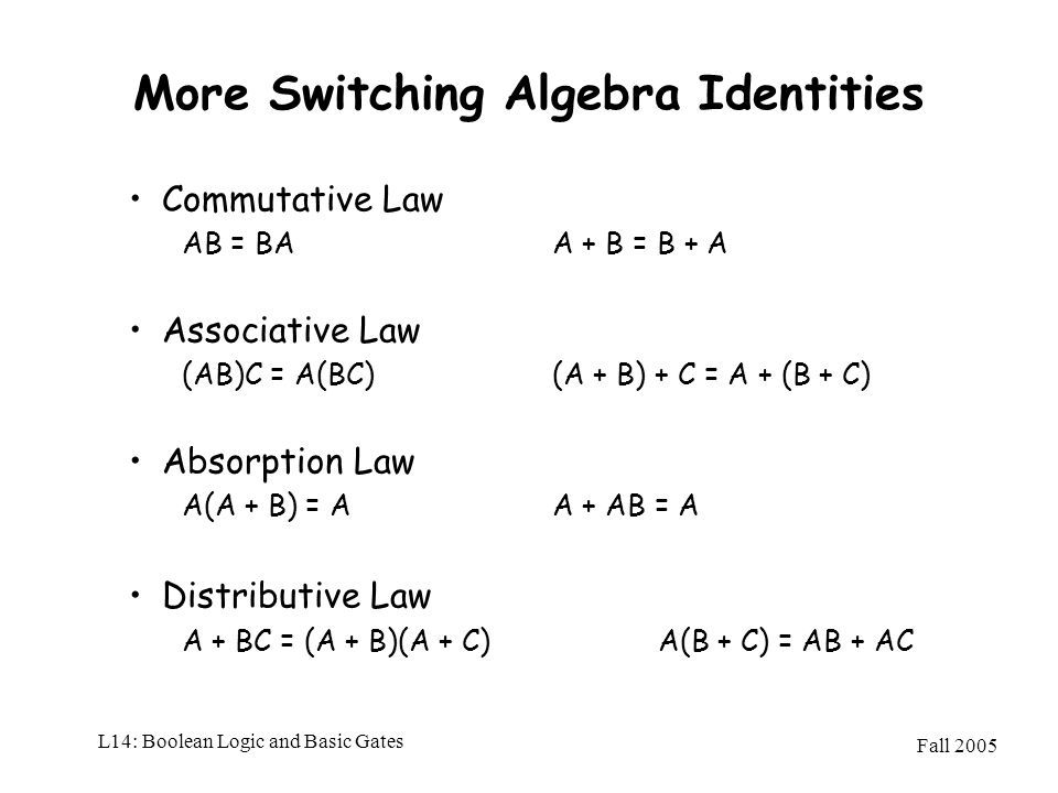 Fall 2005 L14: Boolean Logic and Basic Gates More Switching Algebra Identities Commutative Law AB = BAA + B = B + A Associative Law (AB)C = A(BC) (A +