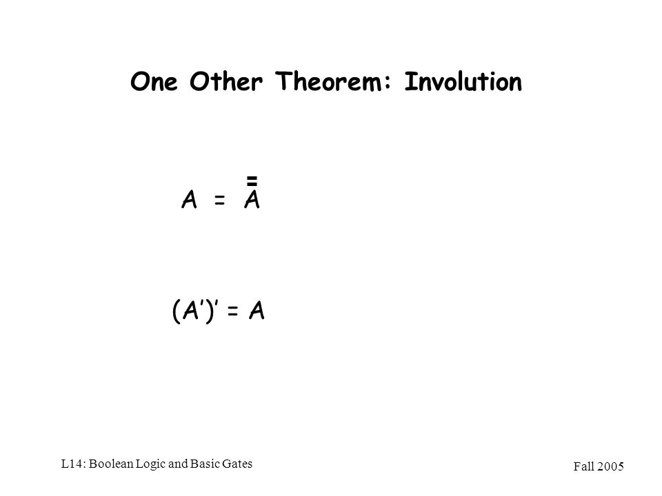 Fall 2005 L14: Boolean Logic and Basic Gates One Other Theorem: Involution A = A (A) = A