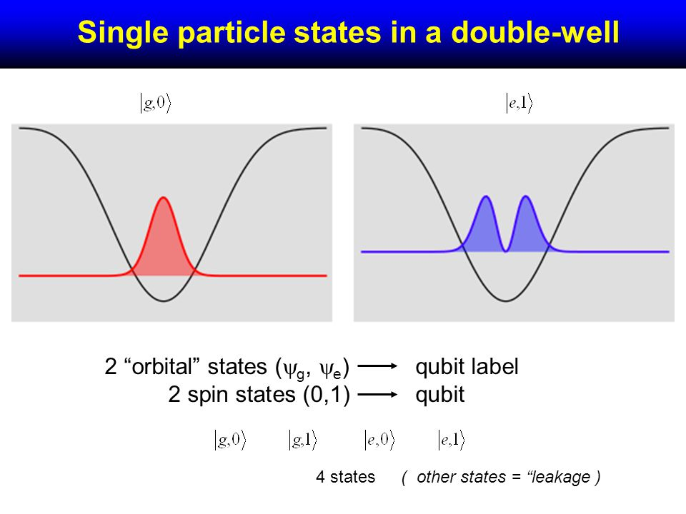 Single particle states in a double-well 2 orbital states ( g, e ) 2 spin states (0,1) qubit label qubit 4 states( other states = leakage )