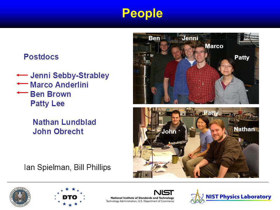 Postdocs Jenni Sebby-Strabley Marco Anderlini Ben Brown Patty Lee Nathan Lundblad John Obrecht BenJenni Marco Patty People Patty Nathan John Ian Spielman, Bill Phillips