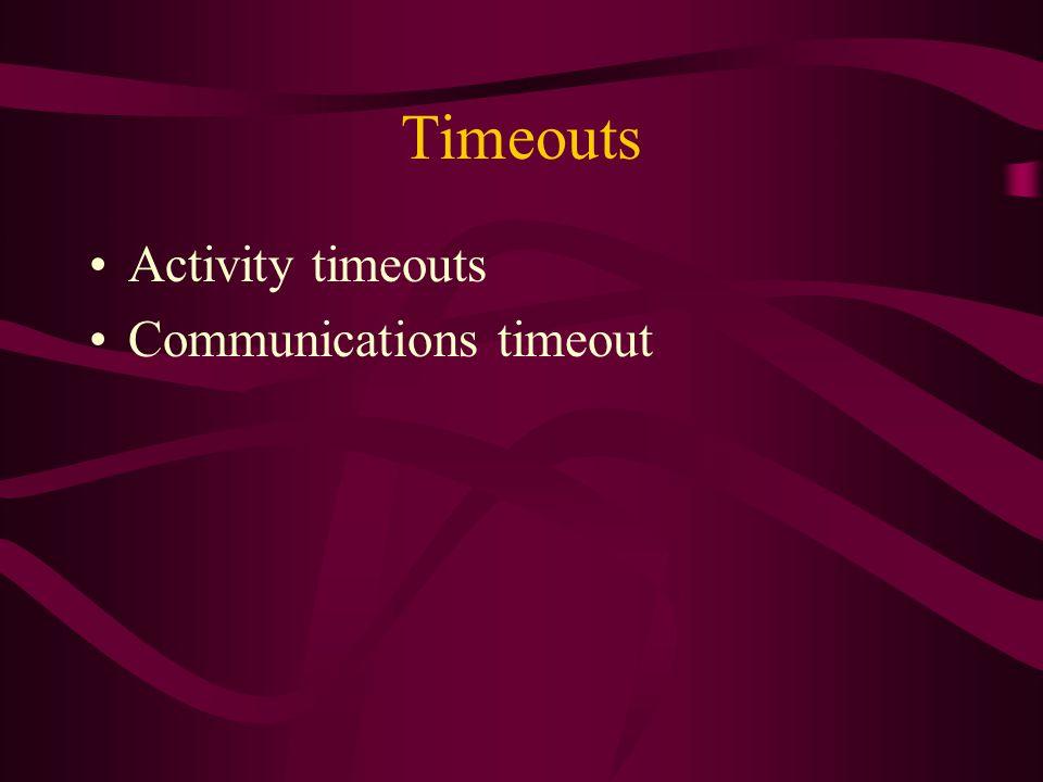 Timeouts Activity timeouts Communications timeout