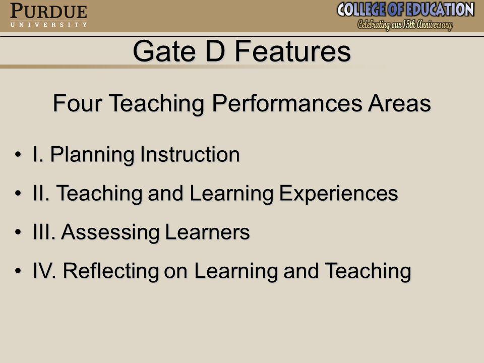 Gate D Features 14 Core Formative Feedback Criteria I.