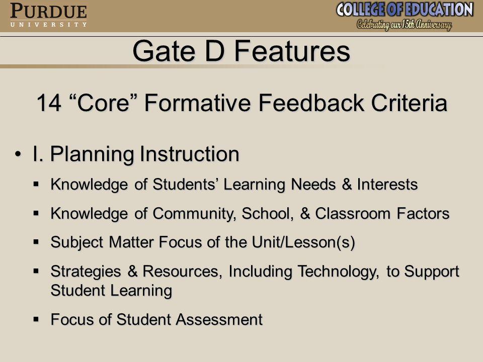Gate D Features 14 Core Formative Feedback Criteria II.