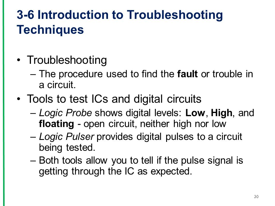 3-6 Introduction to Troubleshooting Techniques Troubleshooting –The procedure used to find the fault or trouble in a circuit.