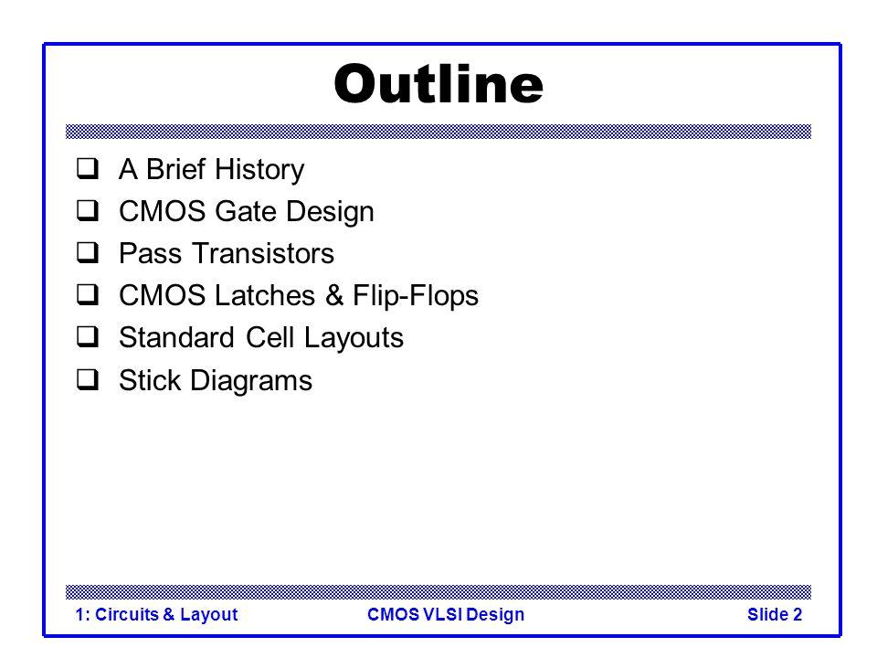 CMOS VLSI Design1: Circuits & LayoutSlide 23 Multiplexers 2:1 multiplexer chooses between two inputs SD1D0Y 0X00 0X11 10X0 11X1