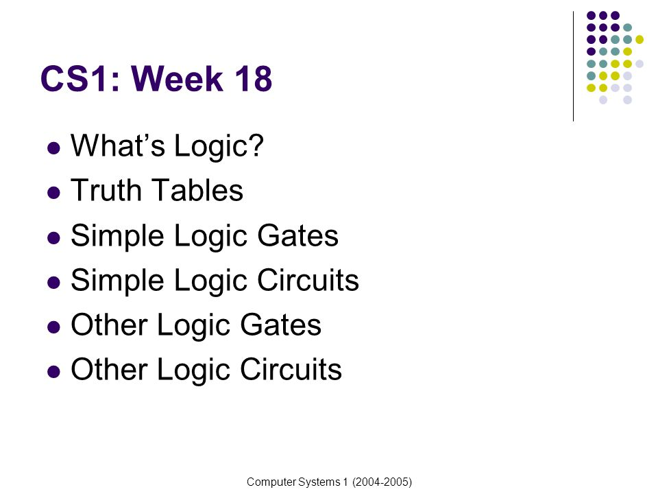 Computer Systems 1 (2004-2005) Whats Logic.