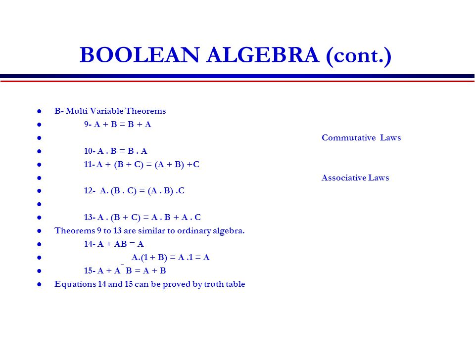 BOOLEAN ALGEBRA (cont.) B- Multi Variable Theorems 9- A + B = B + A Commutative Laws 10- A.