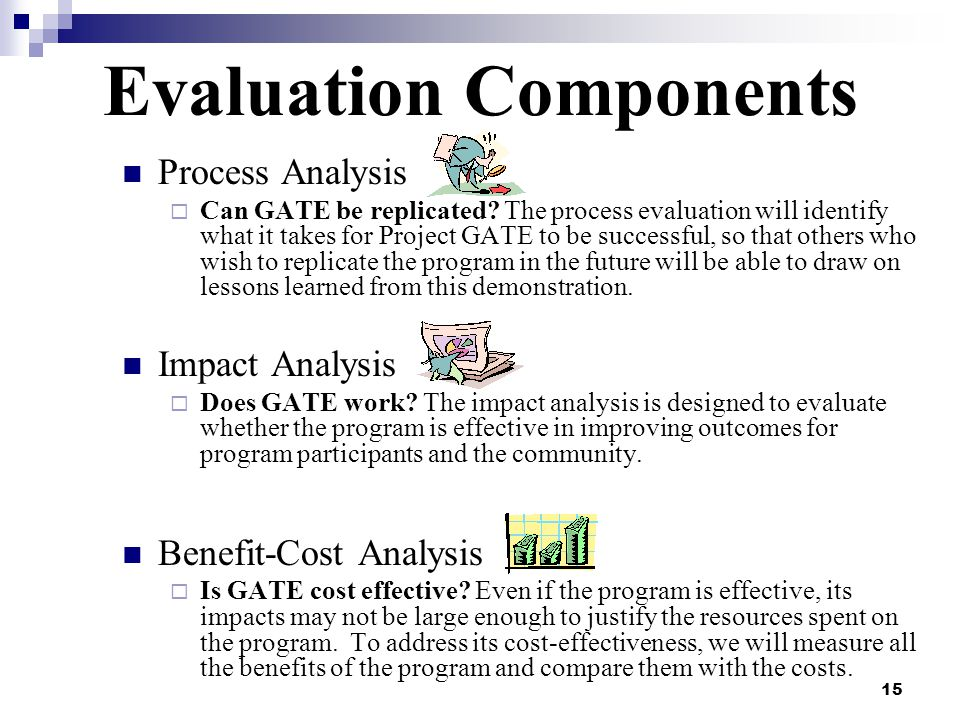 15 Evaluation Components Process Analysis Can GATE be replicated? The process evaluation will identify what it takes for Project GATE to be successful