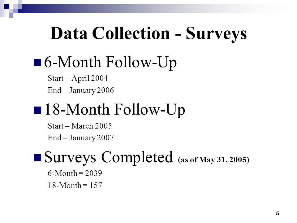 5 Data Collection - Surveys 6-Month Follow-Up Start – April 2004 End – January 2006 18-Month Follow-Up Start – March 2005 End – January 2007 Surveys Completed (as of May 31, 2005) 6-Month = 2039 18-Month = 157