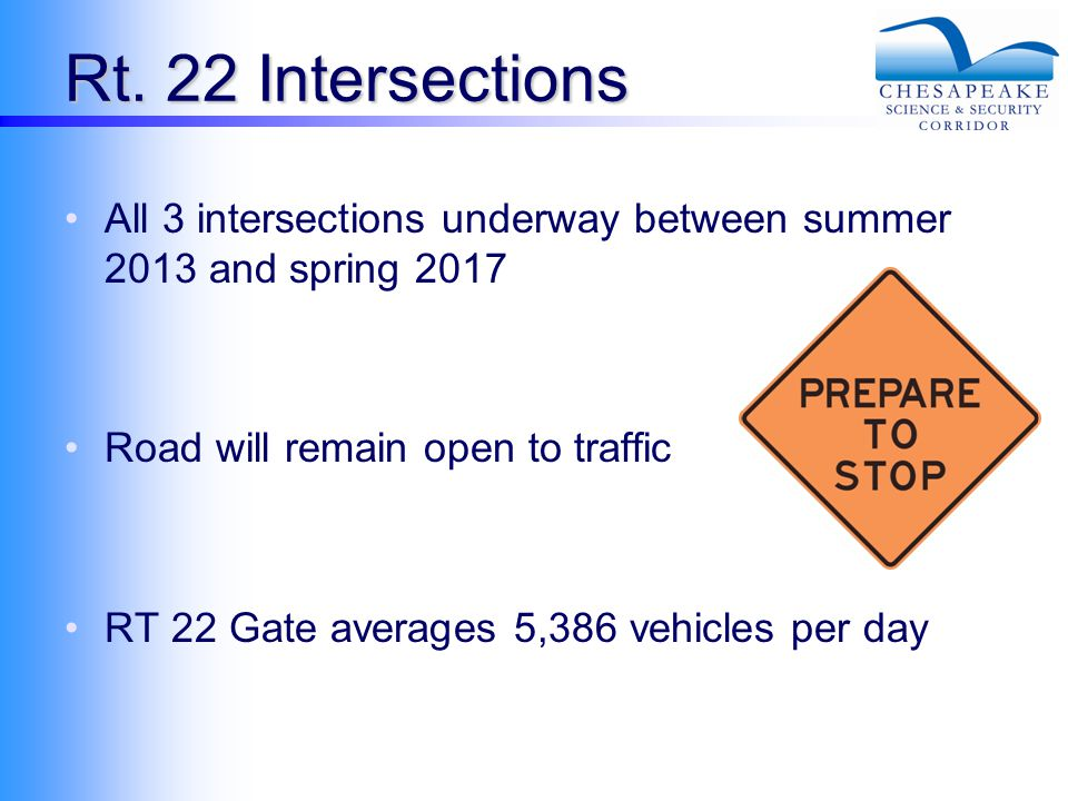 Rt. 22 Intersections All 3 intersections underway between summer 2013 and spring 2017 Road will remain open to traffic RT 22 Gate averages 5,386 vehic