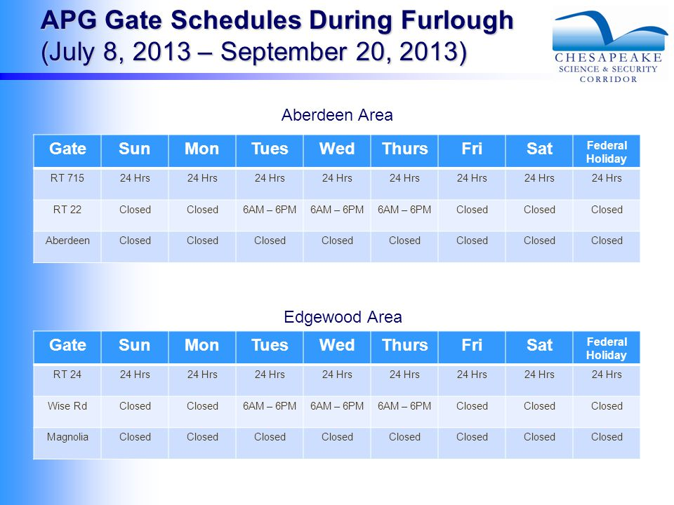 APG Gate Schedules During Furlough (July 8, 2013 – September 20, 2013) GateSunMonTuesWedThursFriSat Federal Holiday RT 71524 Hrs RT 22Closed 6AM – 6PM Closed AberdeenClosed GateSunMonTuesWedThursFriSat Federal Holiday RT 2424 Hrs Wise RdClosed 6AM – 6PM Closed MagnoliaClosed Aberdeen Area Edgewood Area