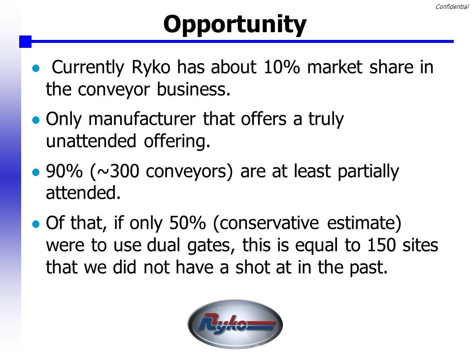 Confidential Opportunity Currently Ryko has about 10% market share in the conveyor business.