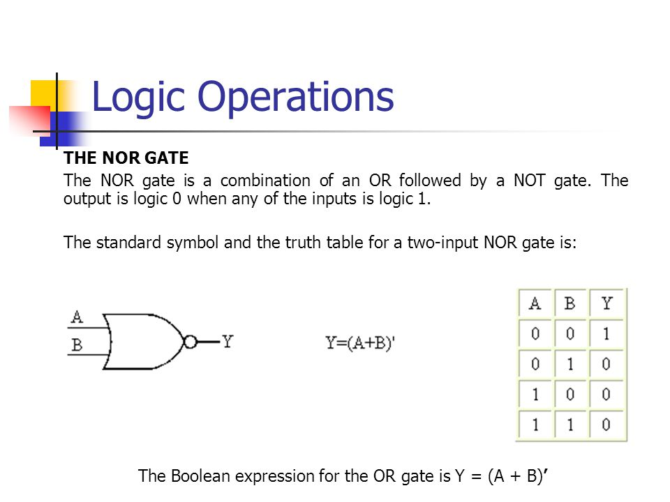 Logic Operations THE NOR GATE The NOR gate is a combination of an OR followed by a NOT gate.