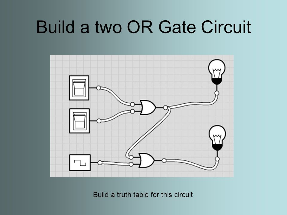Build a two OR Gate Circuit Build a truth table for this circuit